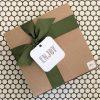 Glow Gifts Kraft Square Box with Green Ribbon