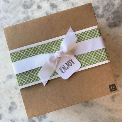 Glow Gifts Large Square Kraft Box with Green Circle Band