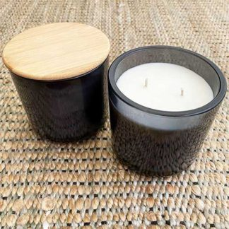 Glow Gifts Gray Glass Candle