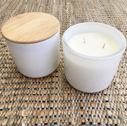 White Glass Candle in Happy Scent